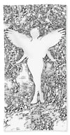 Angel Silhouette in Black and White - Beach Towel