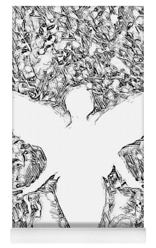 Angel Silhouette in Black and White - Yoga Mat
