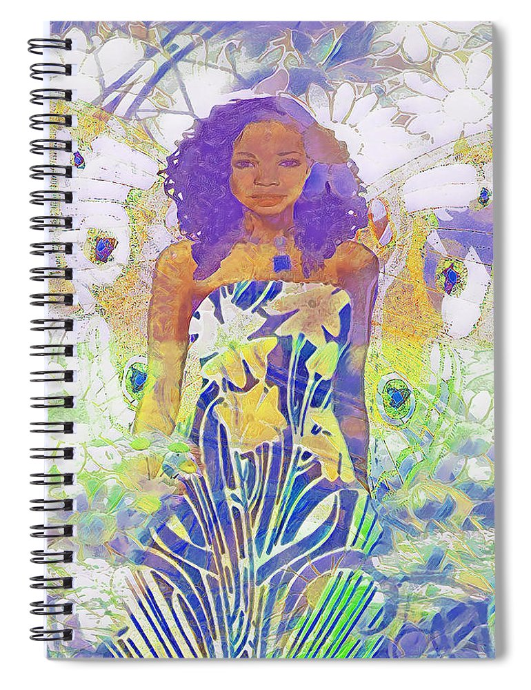 Angel with Daisies - Spiral Notebook