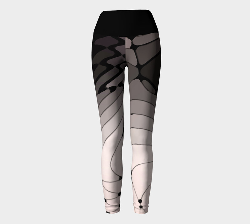 Pink and Black Abstract Yoga Leggings