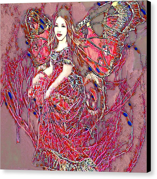 Crystal Rose Butterfly - Canvas Print