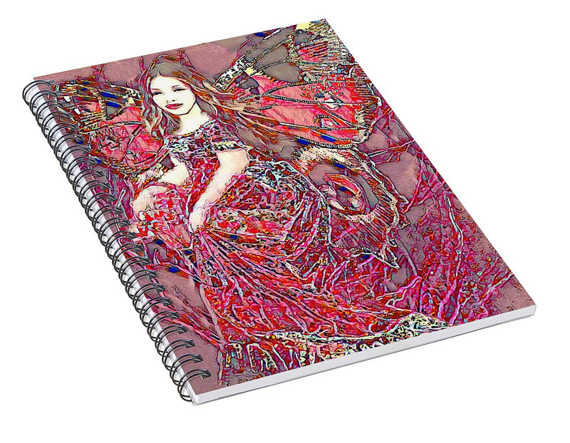 Crystal Rose Butterfly - Spiral Notebook