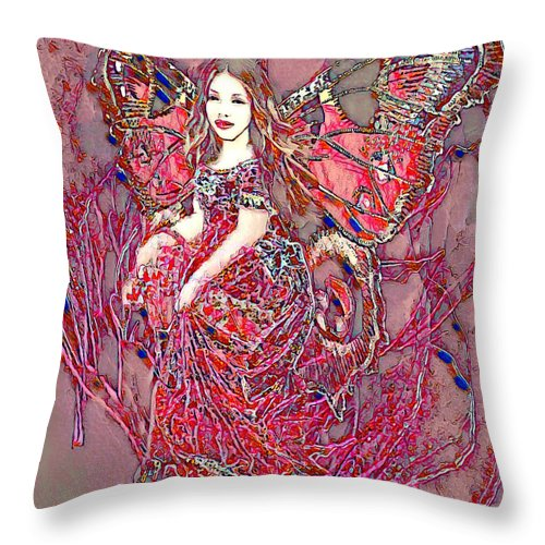 Crystal Rose Butterfly - Throw Pillow