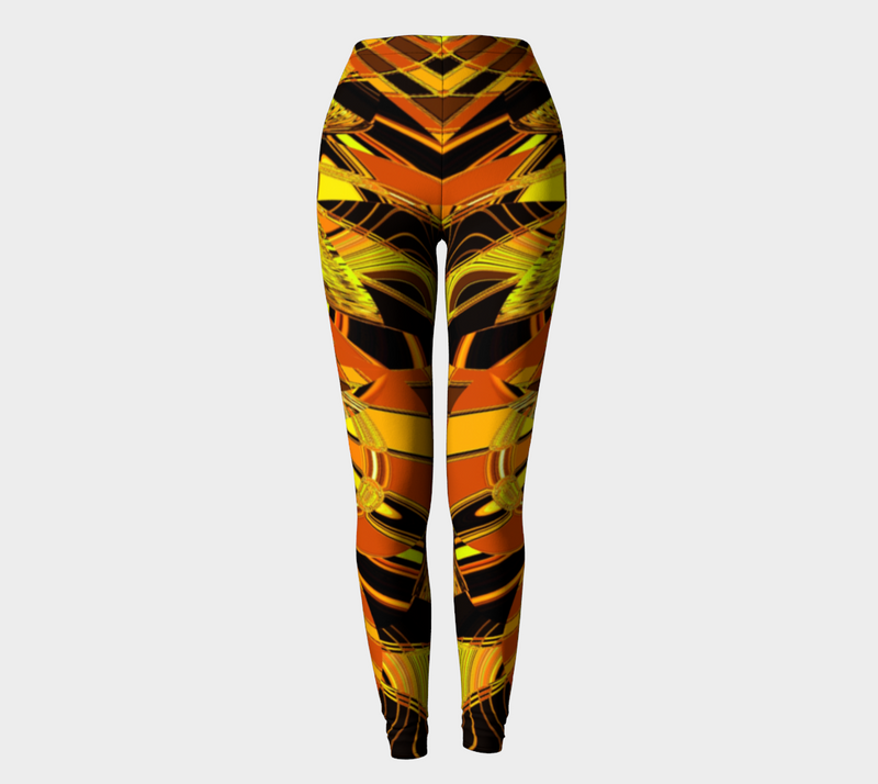 Orange Tiger Abstract Leggings by Amelia Carrie