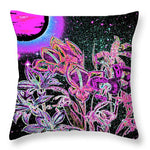 Dance of the Midnight Flowers - Throw Pillow