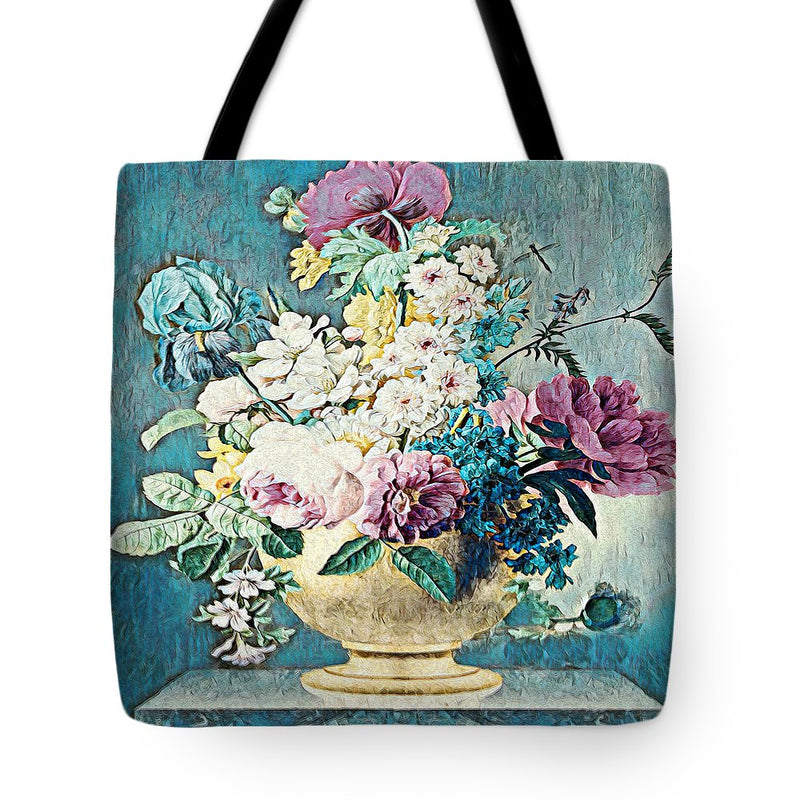 Flowers in a Gold Vase - Tote Bag