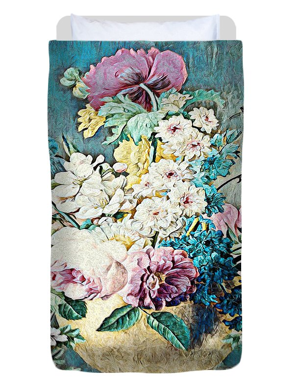 Flowers in a Gold Vase - Duvet Cover