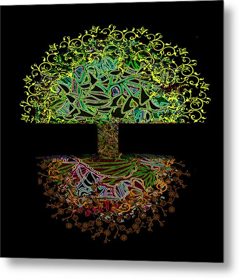 Tree of Life in Neon Lights - Metal Print
