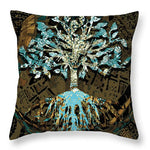 Tree in Teal and Browns - Throw Pillow