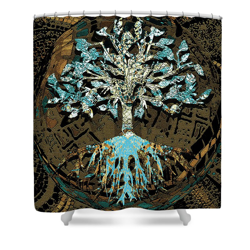 Tree in Teal and Browns - Shower Curtain