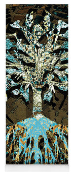 Tree in Teal and Browns - Yoga Mat