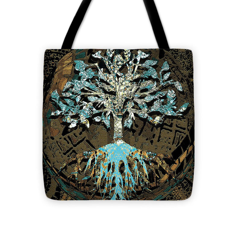 Tree in Teal and Browns - Tote Bag