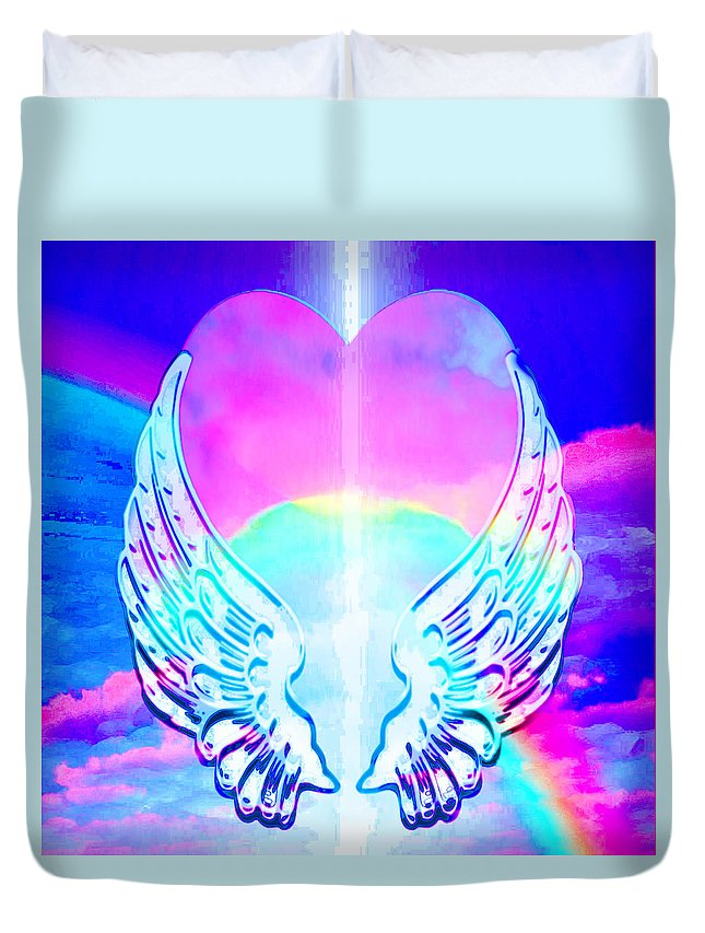 Heart and Angel Wings - Duvet Cover