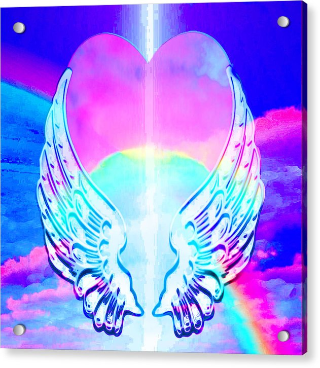 Heart and Angel Wings - Acrylic Print