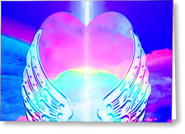 Heart and Angel Wings - Greeting Card