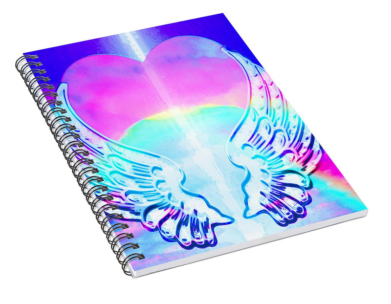 Heart and Angel Wings - Spiral Notebook
