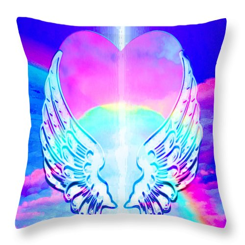 Heart and Angel Wings - Throw Pillow