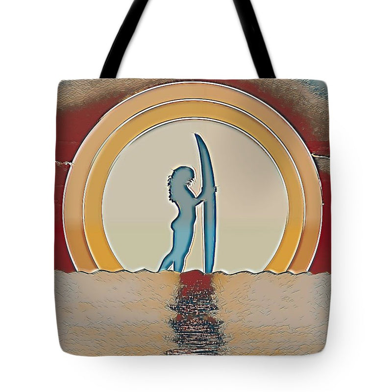 Orange Sunset Surfer - Tote Bag