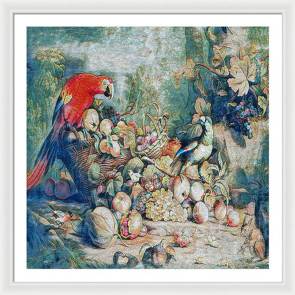 Parrots and Fruit Updated - Framed Print