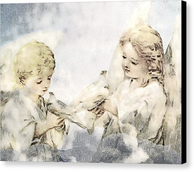 Two Cherubs with Doves - Canvas Print