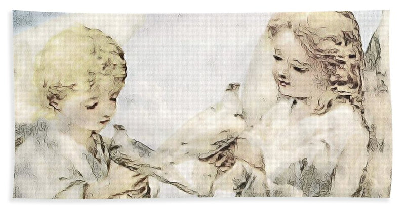 Two Cherubs with Doves - Beach Towel