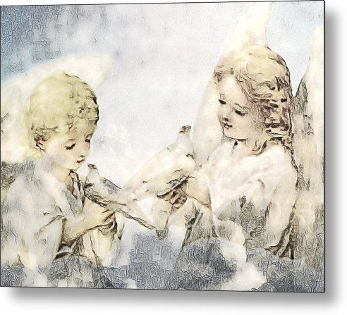 Two Cherubs with Doves - Metal Print