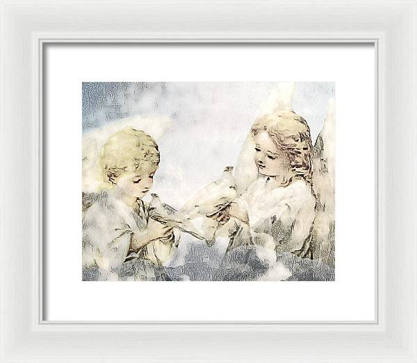 Two Cherubs with Doves - Framed Print