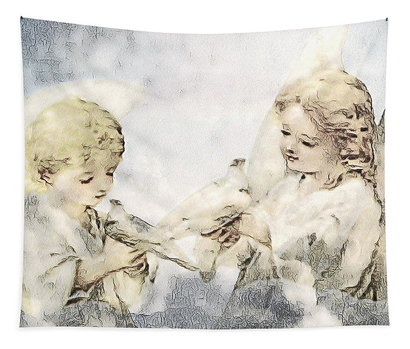 Two Cherubs with Doves - Tapestry