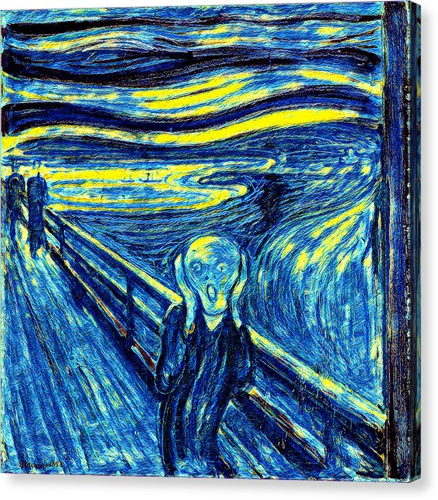 Scream in Starry Night Colors - Canvas Print