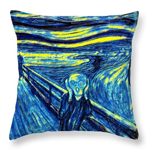 Scream in Starry Night Colors - Throw Pillow