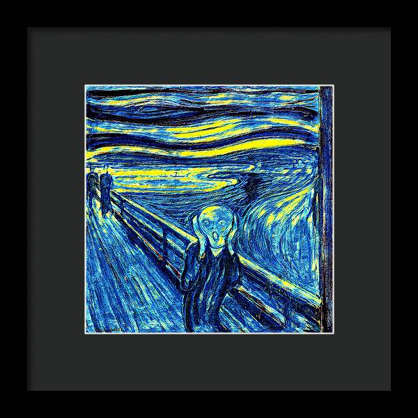 Scream in Starry Night Colors - Framed Print