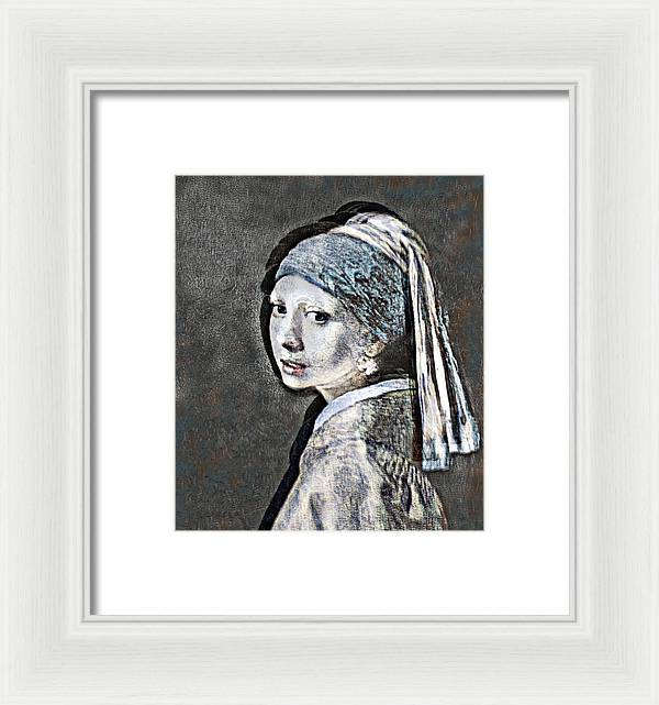 Slightly Modified Girl with a Pearl - Framed Print