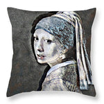 Slightly Modified Girl with a Pearl - Throw Pillow