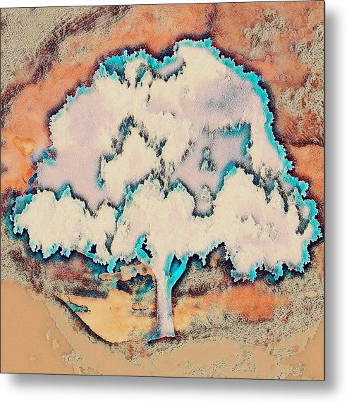 Tree Abstract in Orange - Metal Print