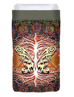 Tree and Butterfly Silhouette - Duvet Cover
