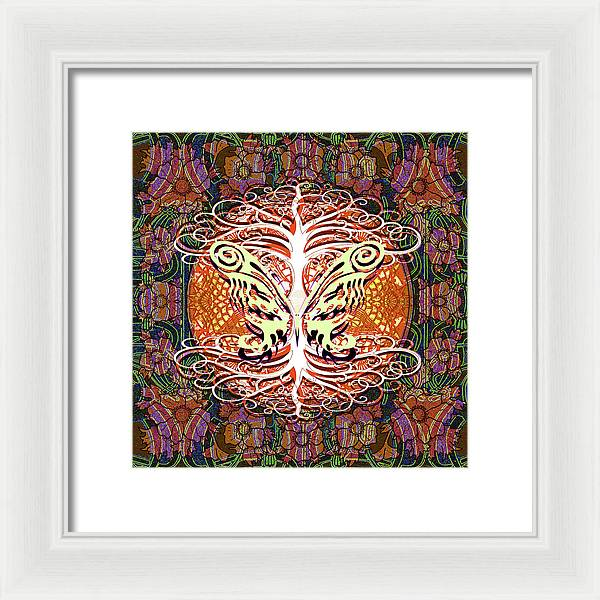 Tree and Butterfly Silhouette - Framed Print