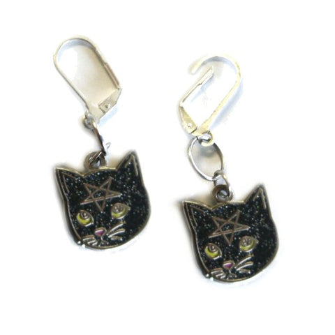 Black Glitter Pentacat Earrings