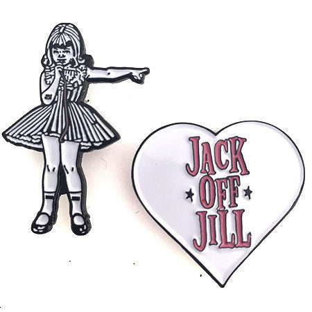 Jack Off Jill Girl & Heart - Pin Set