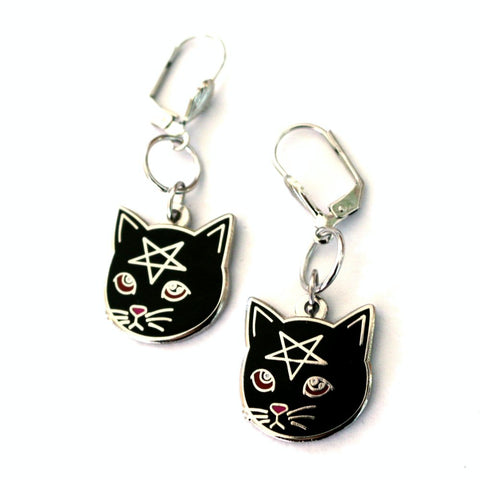 Black Pentacat Earrings