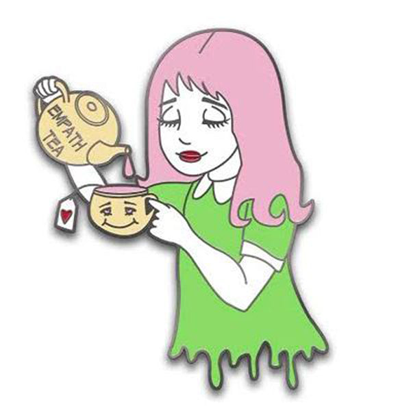 Empath Tea (Large) - Pin (pink hair / green dress)