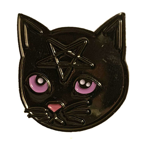 Black on Black Pentacat Pin