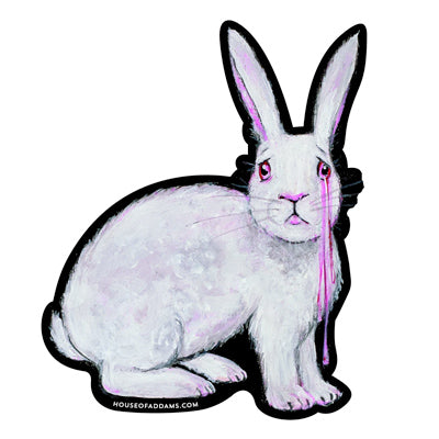 """Who Wants To Die For Art"" Sad Rabbit Sticker"