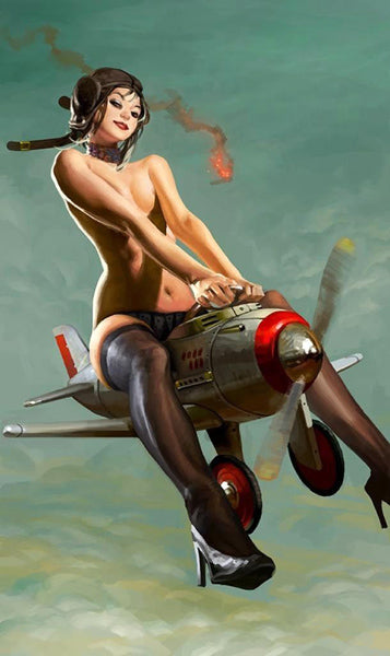 Pin-up qui pilote un mini avion militaire