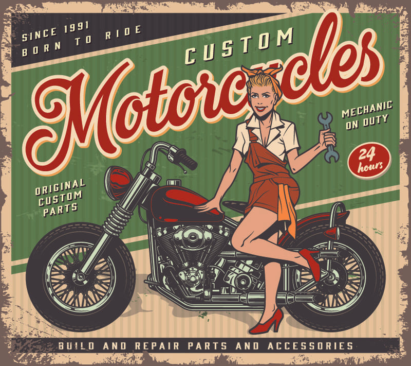 Dessin pin-up blonde Motorcycles