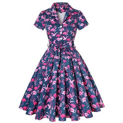 Robe Pin Up Flamant Rose