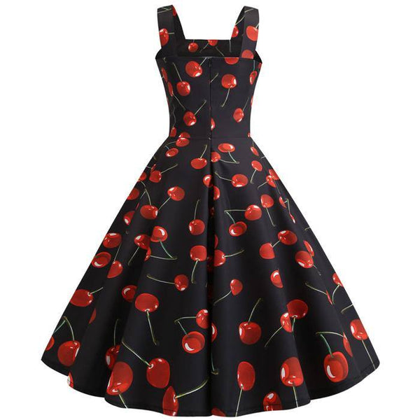 Robe Pin Up Motif Cerise