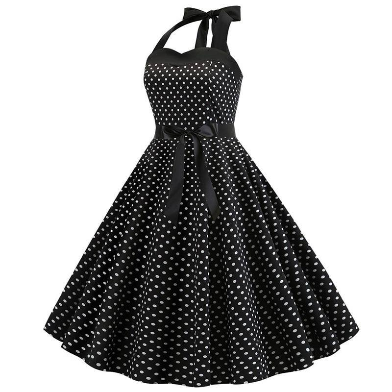 Robe Pin Up Noir à Pois Blanc