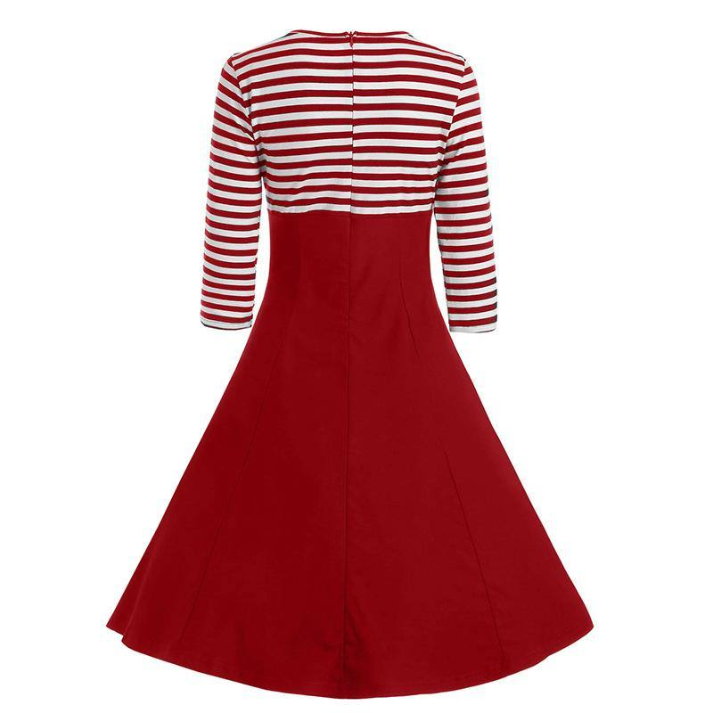 Robe Pin Up Rayée Blanc Rouge