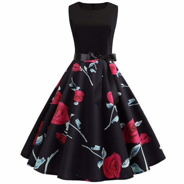 Robe Pin Up Rockabilly Fleurs Rouge Noir Blanc