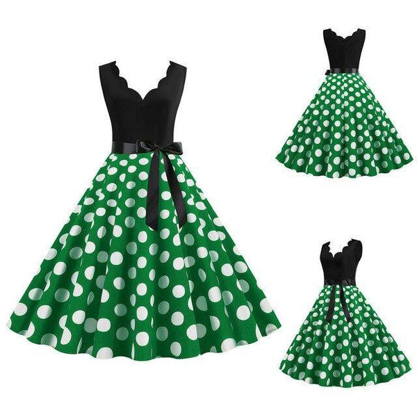 Robe Pin Up Rockabilly Vert Pois